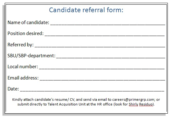 Candidate Referral