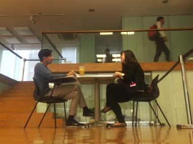 A TA member interviews a potential Primer employee.